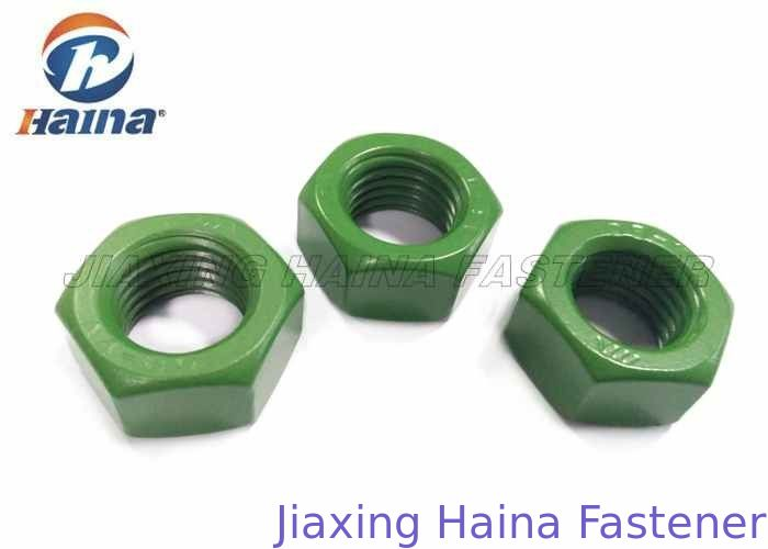 Teflon Finish Anti Corrosion Hex Head Nuts , DIN934 stainless steel fasteners Green Whitford Teflon